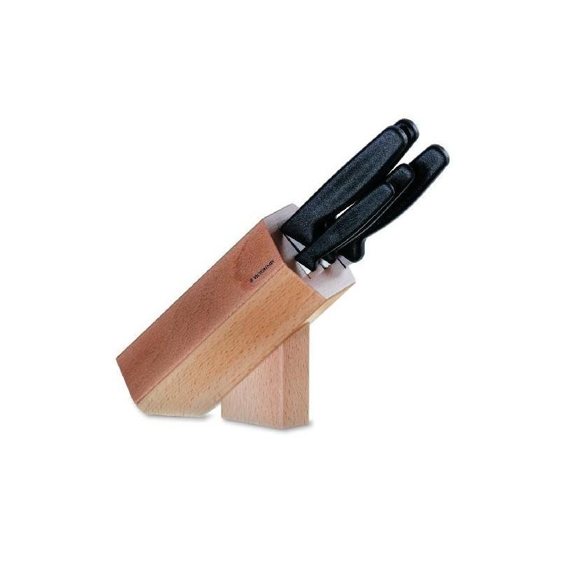 Bloc de cuisine en bois 5 pi ces manche polypropyl ne noir - Bloc en bois pour couteau ...