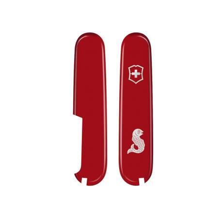 Plaquettes rouges Victorinox 91mm - logo Poisson