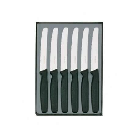 Coffret 6 couteaux de table manche noir