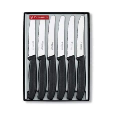 Coffret 6 couteaux SwissClassic de table manche noir