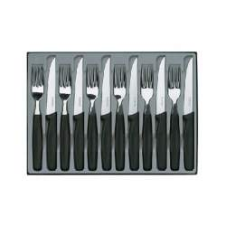 Coffret 6 couteaux steak + 6 fourchettes manche noir Victorinox